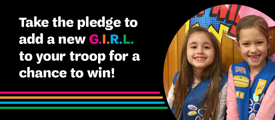 There is power in every girl. Unleash it at Girl Scouts banner